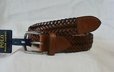 Polo Ralph Lauren Belt Leather Braided Belt Cuoio Brown SIZE 32 NWT $85
