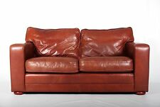 Sofa Brown Leather Large 2 Seater Tan Fine Quality Settee