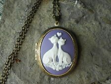 CAT (S) IN LOVE HEART CAMEO LOCKET -PURPLE,ANTIQUE BRONZE, VINTAGE LOOK, QUALITY