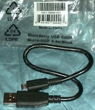 Blackberry Originale 30 cm CORTO MICRO USB Cavo dati asy-18685 Nero, 24 HR POST