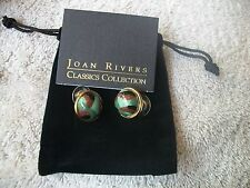 JOAN RIVERS Polished Goldtone Camouflage Cab Stone for Pierced Ears NWT Grt Gift