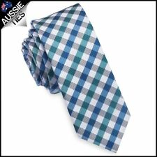 Green, Blue & White Check Plaid Skinny Tie