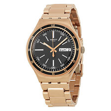 Swatch Charcoal Medal Rose Black Dial Rose Gold PVD Stainless Steel Mens Watch