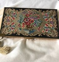 VTG Volupte 1930 Compact Cigarette Carryall Dance Clutch Enamel Needlepoint PT