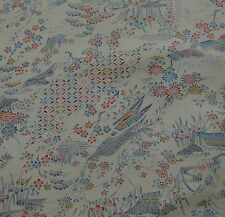 Japanese vintage kimono silk fabric Beautiful Water Garden