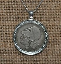 Authentic Goddess Athena Greek Drachma Coin Charm Pendant 925 Silver Necklace