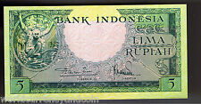 INDONESIA 5 RUPIAH P49 1957 DEER UNC ORANGUTAN ANIMAL SERIES CURRENCY MONEY BILL