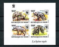Niger 2015 MNH Striped Hyena WWF 4v Imperf M/S Hyenas Wild Animals Fauna Stamps