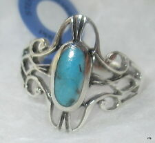 925 Sterling Silver Oval Cut Natural Turquoise Filigree Celtic Ring SZ 6 7 8 9