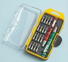 Pocket Screwdriver Set 16 carbon steel bits slotted/Phillips/star w/case NEW