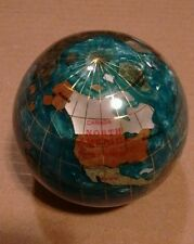 Earth World Globe heavy solid paperweight inlaid stone gem stones gems map 3""