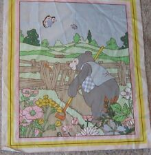 Sweet nursery bear sewing panel piece vintage animal gardening bloack fabric