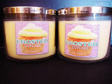 Bath Body Works Slatkin FROSTED CUPCAKE 3-wick Candles NEW x 2
