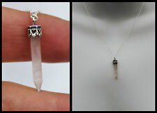 Sterling Silver 925 Rose Quartz Crystal Gem Stone Point Pendant Necklace