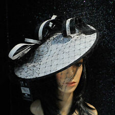 FAILSWORTH WHITE BLACK WEDDING ASCOT HAT DISC FASCINATOR MOTHER OF THE BRIDE