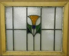 """MID SIZED OLD ENGLISH LEADED STAINED GLASS WINDOW Cute Floral 24.25"""" x 19.75"""""""