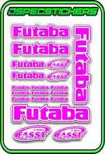 FUTABA RC STICKERS A5 SHEET R/C PLANE CAR BUGGY HELI REMOTE CONTROL PINK WHITE