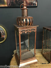 Tall Ornate Copper / Gold Lantern Sturdy Garden Lanterns Nautical Candle Holder