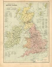 1902 MAP ~ COMMERCIAL BRTISH ISLANDS COUNTIES OF SCOLAND ENGLAND WALES IRELAND
