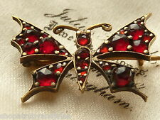 VICTORIAN MINIATURE MOTH INSECT BUTTERFLY BROOCH 9CT GOLD ROSE CUT GARNETS C1870