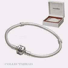 "Authentic Pandora Silver Bracelet With Pandora Lock  7.1"" Hinged Box 590702HV-18"