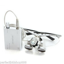 Dental Binocular Loupes 3.5X320mm Optical Glass Loupe+LED Head Light--Silver uwe
