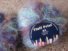 10 balls Fluff Print N.Y. yarns novelty turquoise 21 eye lash dye lot 2005/3