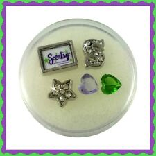 Scentsy Floating Charm Set-accent stones, cz star, letter S, scentsy logo