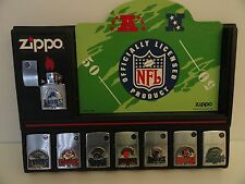 Rare Zippo NFL Lighter Set of 8 Limited Production With Display Card (2003) New