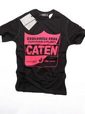 New DSQUARED T-shirt D2 CATEN Color- Black Red Logo Size- S
