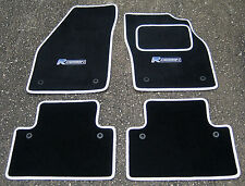 "Car Mats in Black/White Trim to fit Volvo C30 (2006-2012) + ""R Design"" Logos"