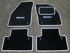 "Car Mats in Black/White Trim to fit Volvo V40/S40/V50 (04-12) + ""R Design"" Logos"