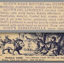 Goffs Herb Bitters Bicycle Liniment Sarsaparilla Horse Cure Clown Hunting Puzzle