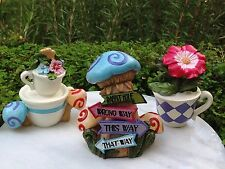 Miniature Dollhouse FAIRY GARDEN ~ Alice in WONDERLAND Tea Cups & Mushroom Sign