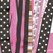 Hello Kitty Grosgrain ribbon lot 2 inch, 1-1/2, 7/8, 5/8 16 yards Prints and sol