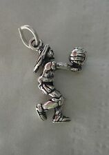 1 Sterling Silver 21x14mm Girl Volleyball Player with ball serve position Charm