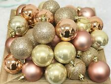 40 X ROSE GOLD CHAMPAGNE COPPER PEARLISED CHRISTMAS BAUBLES DECORATIONS 50MM