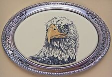 Belt Buckle Barlow Scrimschaw American Eagle Head Silver Carved Painted Art 142c