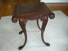 Maitland Smith Aged Regency Red Burgandy Leather Top Gold Tooling End Table