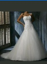 2015 White/Ivory applique Lace Wedding Dress Bridal Gown Size 6-16 UK