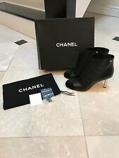 Chanel NIB Lambskin Bootie With Satin Cap Toe & Ruler Heel Size 41.5 Org $1450