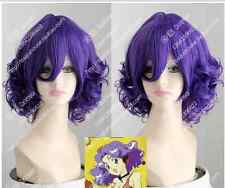 Cos purple  short curly  Cosplay Full Heat-resistant Wig  + Gift