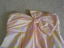 LILLY PULITZER Pink White Yellow Strapless Dress Front Bow Sz 4 SWEET Hawaii