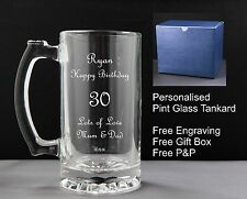 Personalised GlassTankard,Birthday Gift,26th 27th 28th 29th 30th 31st 32nd 33rd