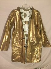 Umbrella Print Gold Vinyl Reversible Raincoat Jacket Sz S Slippery When Wet