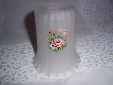 Vtg.Small Glass Lamp Shade/Globe - Frosted, Ribbed, Rose Design   #GS06