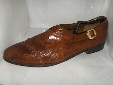 ALDO PONTI MENS COGNAC LEATHER GATOR SHOES WITH BUCKLE LOAFERS SIZE 10.5 M