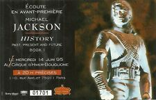 RARE / TICKET BILLET DE CONCERT - MICHAEL JACKSON : LIVE A PARIS ( FRANCE ) 1995
