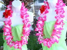 TWO Hawaiian Silk Flower Lei Luau Party Hula Necklace ~ Pink & White QTY 2 LEIS