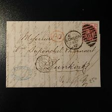 GRANDE BRETAGNE GB N°51 3d PINK PLANE 11 LETTRE COVER 1973 LONDON TO DUNKERQUE